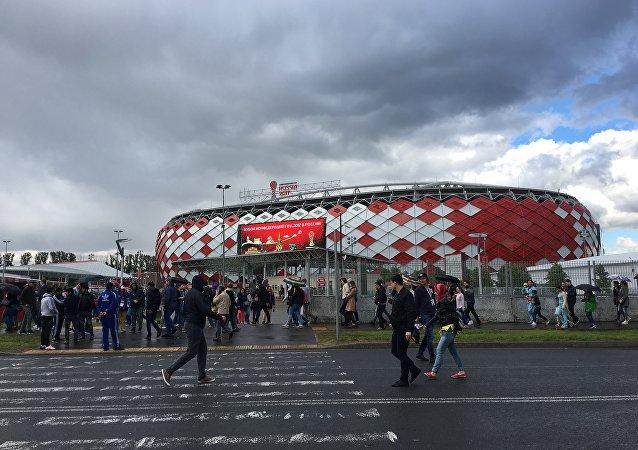 Estádio Otkrytie Arena, em Moscou, onde decorreu a partida entre Portugal e a Rússia em 21 de julho, sendo que o local acolherá ainda os jogos da Copa do Mundo em 2018