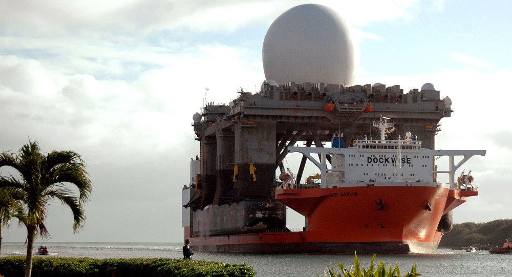 O maior sistema de radar do mundo baseado no mar SBX (Sea-Based X-Band Radar-1) dos EUA