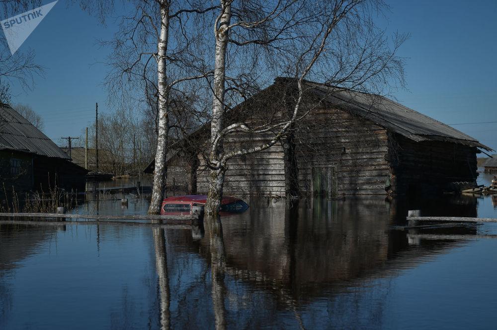 Enchente na república russa de Komi