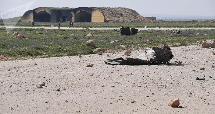 Base aérea de Shayrat, na Síria, após ataque dos EUA