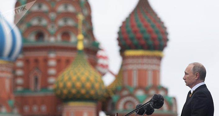 Putin descursa na Praça Vermelha por ocasião do Dia da Vitória, Moscou, 9 de maio de 2017
