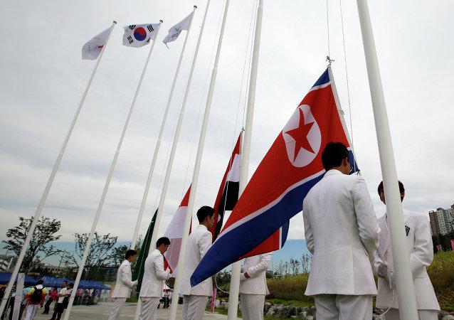Bandeiras sul-coreana e norte-coreana