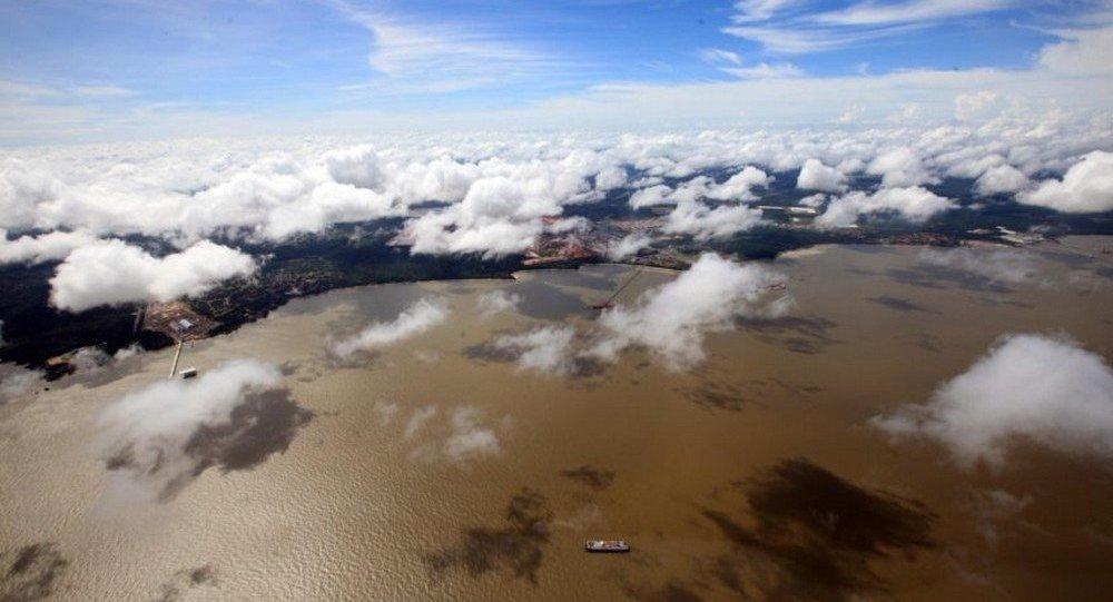 Área coberta por água na cidade de Barcarena, no interior do Pará