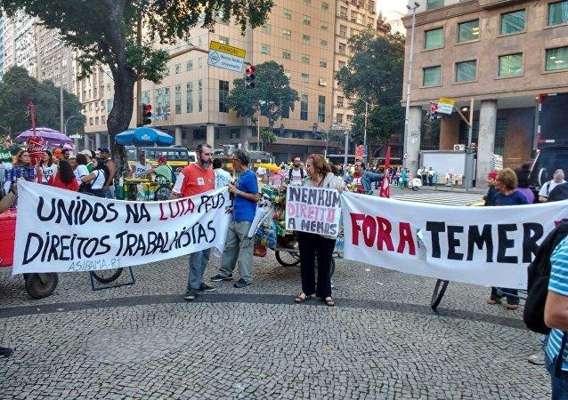 Manifestantes se concentram para ato da Greve Geral no Rio de Janeiro