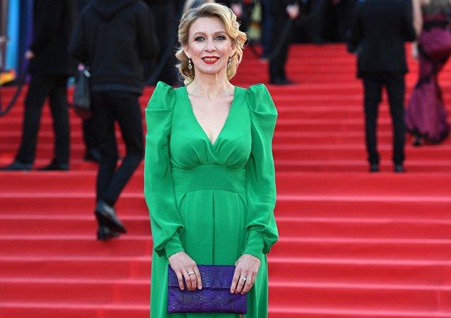 María Zajárova en la ceremonia de apertura del 39 Festival Internacional de Cine de Moscú