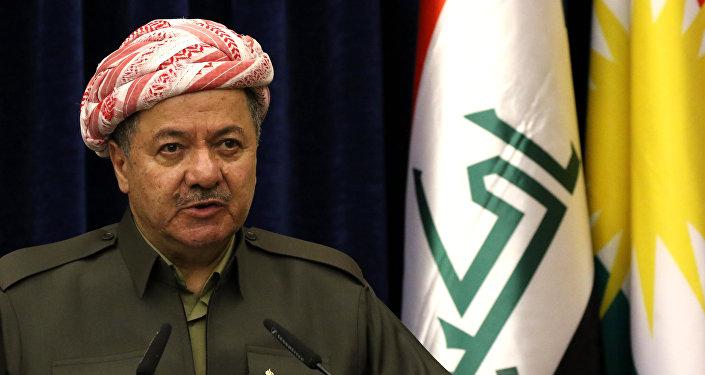 Presidente do Curdistão iraquiano, Massoud Barzani, durante uma coletiva de imprensa