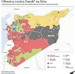 Mapa da ofensiva contra Daesh na Síria