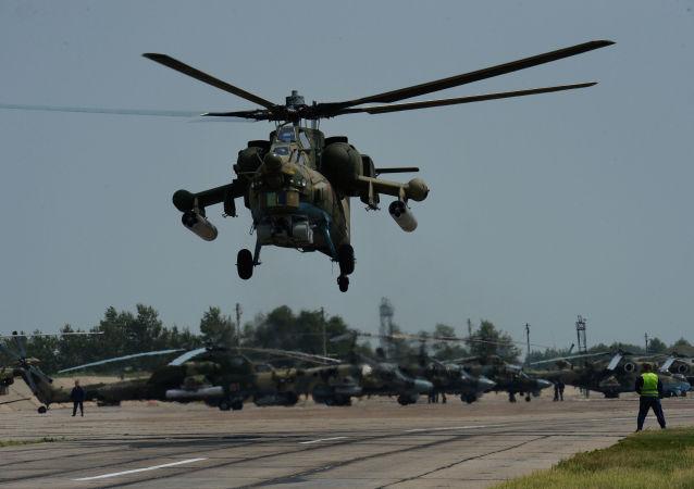 Mi-28 participa de treinamentos no aeródromo Chernigovka, região de Primorie, Rússia