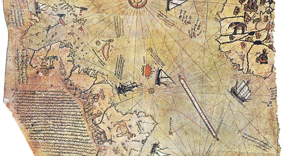 Mapa do mundo, desenhado pelo almirante otomano Piri Reis em 1513.