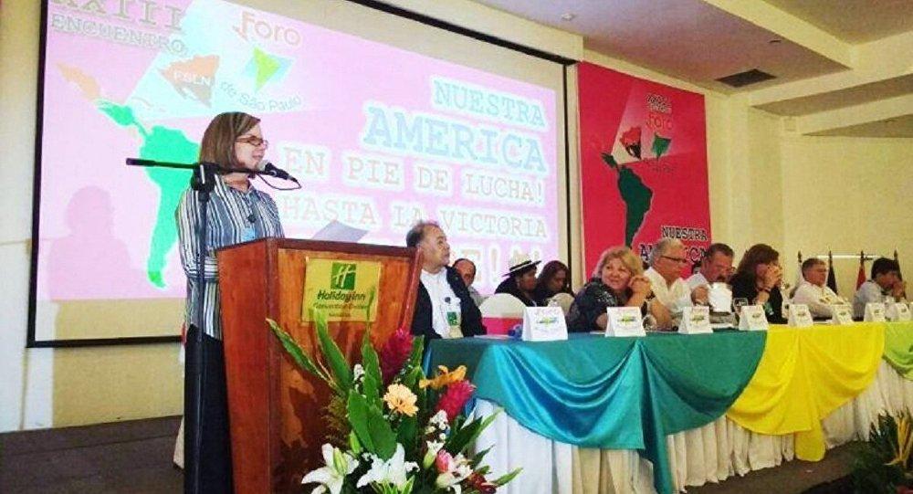 Presidente do PT Gleisi Hoffmann fala na abertura do 23.º Encontro do Foro de São Paulo