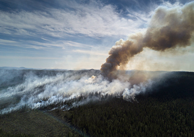 Fogo florestal na República de Yakútia