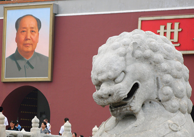 Retrato dol líder revolucionário chinês Mao Tsé-Tung no Portão de Tiananmen em Pequim