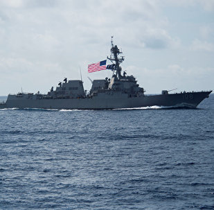 Destróier USS Wayne E. Meyer, da classe Arleigh Burke, no mar do Sul da China, 11 de abril de 2017
