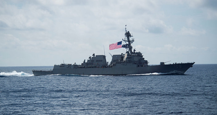 Destróier USS Wayne E. Meyer, da classe Arleigh Burke, no mar do Sul da China, 11 de abril de 2017 (arquivo)