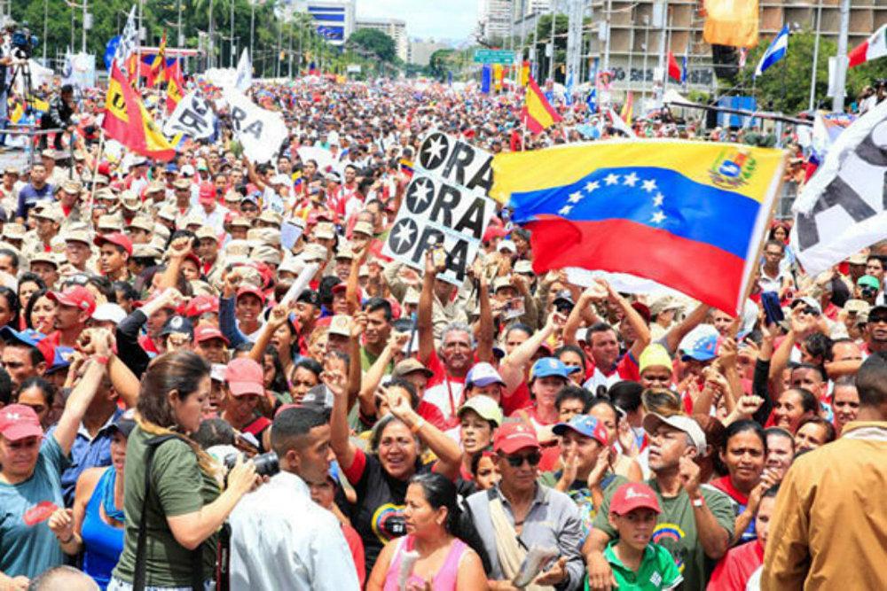 Manifestação de encerramento da campanha por uma nova constituinte em Caracas, na Venezuela