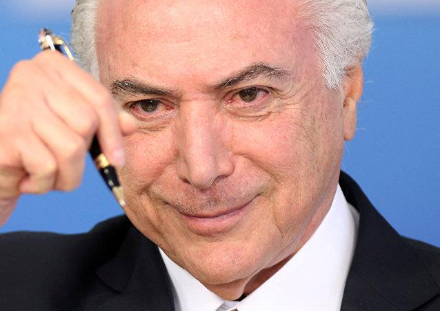 Michel Temer durante cerimônia no Palácio do Planalto