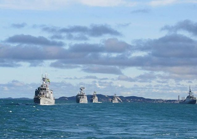 Imagem da Operação Missilex 2017, realizada pela Marinha do Brasil no litoral do Rio de Janeiro em julho de 2017