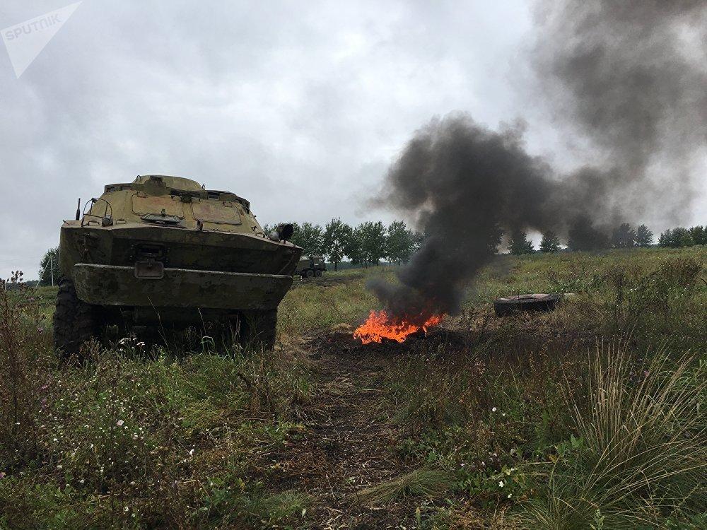 Uma das cenas do concurso militar Rembat 2017 em Omsk