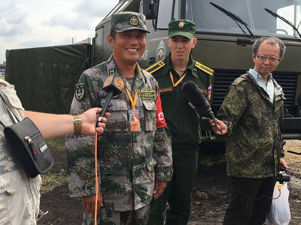 O vice-chefe da delegação chinesa, tenente coronel Li Yuqiang, no concurso Rembat 2017