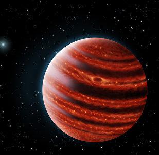 Ilustração artística do exoplaneta 51 Eri b, parecido com Júpiter (imagem referencial)