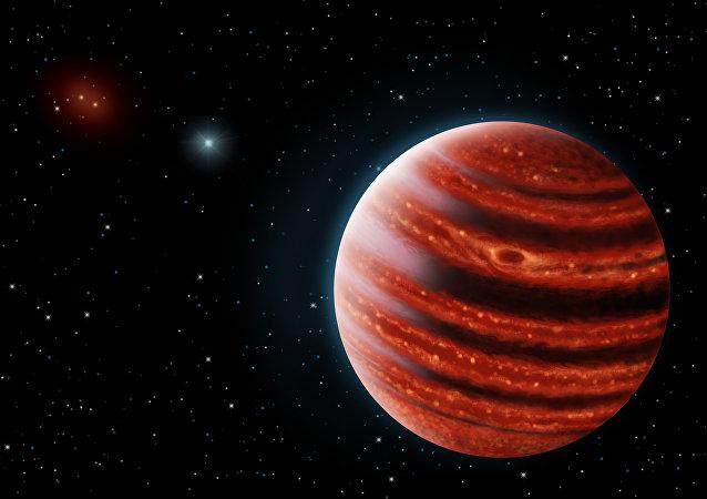 Ilustração artística do exoplaneta 51 Eri b, parecido com Júpiter