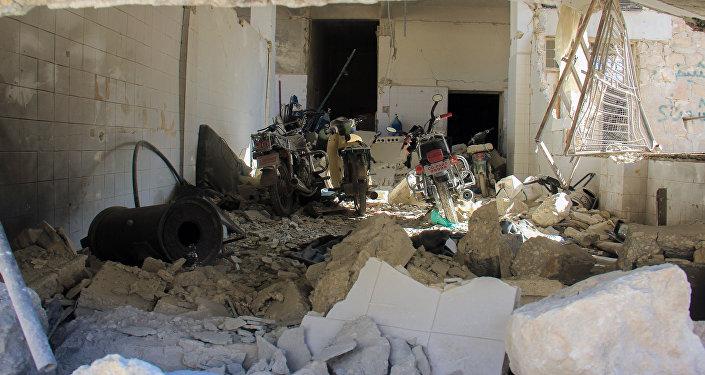Hospital destruído em Khan Shaykhun, na província síria de Idlib, após o alegado ataque químico, em 4 de abril de 2017.