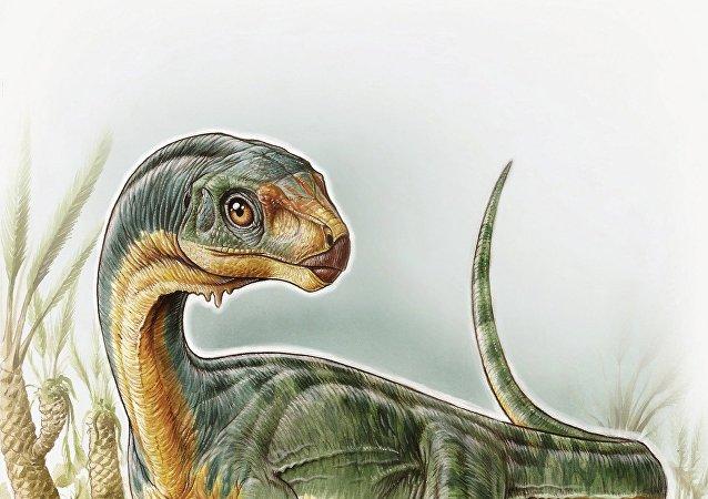 Dinossauro da espécie Chilesaurus diegosuarezi (visão artística)