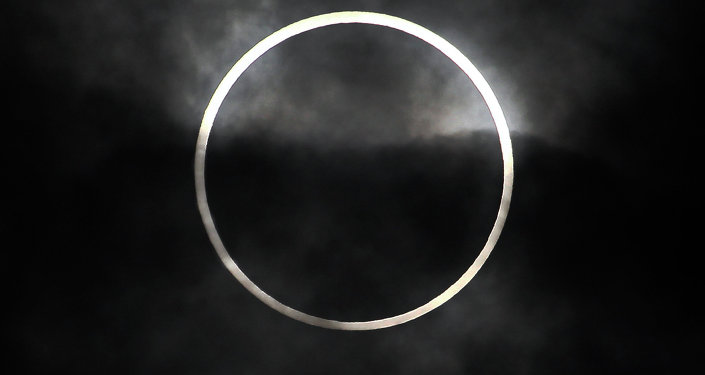 An annular solar eclipse in seen from Machida, on the outskirts of Tokyo