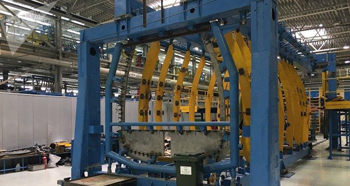 Fuselagem de um helicóptero na Fábrica de Kazan