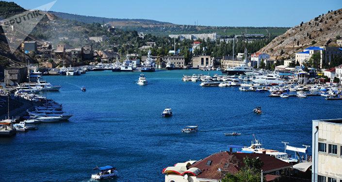 Vista da baía de Balaklava na cidade de Sevastopol
