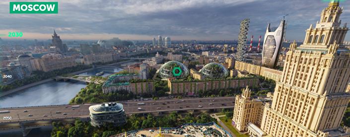 Moscou na década de 2030, segundo imagina o portal Earth 2050