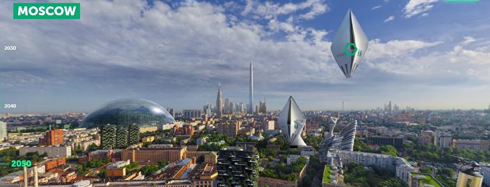 Moscou na década de 2050, segundo prediz o portal Earth 2050