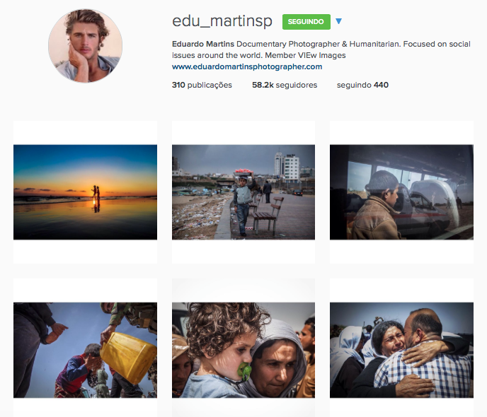 O perfil do Instagram do falso fotógrafo Eduardo Martins
