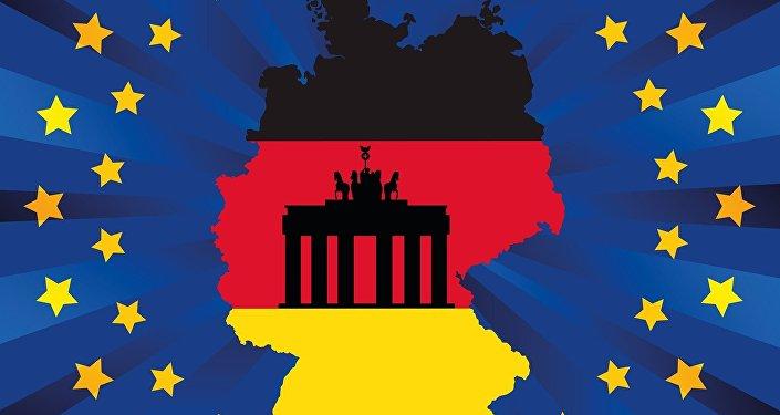 Bandeira da União Europeia com território e bandeira da Alemanha no centro