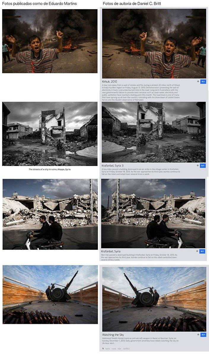 Comparativo mostram as fotos roubadas por Eduardo Martins e as originais de Daniel C. Britt. O falso fotógrafo muitas vezes editava as legendas, classificando como Aleppo e Mossul, locais no Iraque, Afeganistão e até mesmo no Congo.