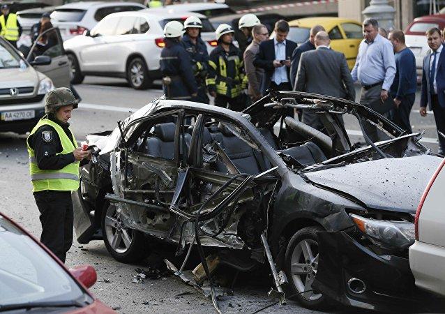 Carro destruído por explosão no centro de Kiev, Ucrânia, nesta sexta-feira, 8 de setembro de 2017
