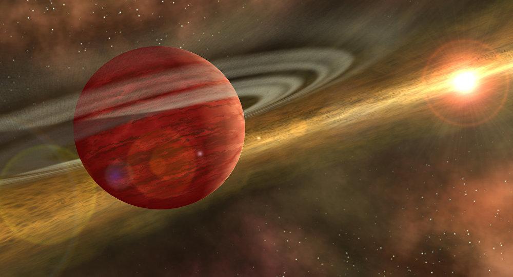 Nascimento de um planeta gasoso, parecido com Júpiter no nosso Sistema Solar, há bilhões de anos (ficção)