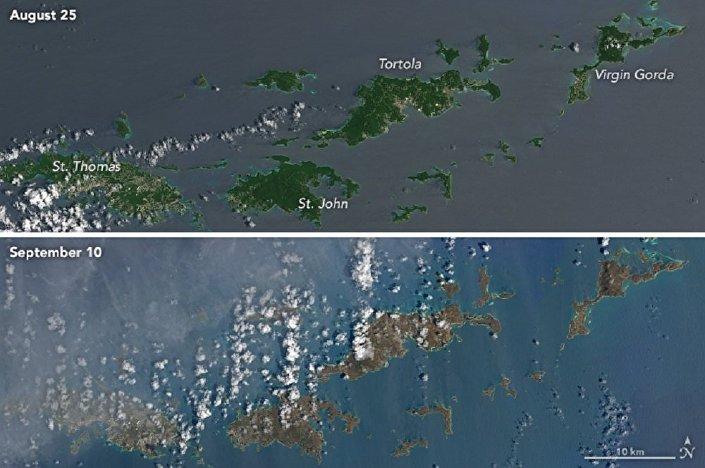 Comparação das imagens das Ilhas Virgens Britânicas e dos Estados Unidos em 25 de agosto e em 10 de setembro