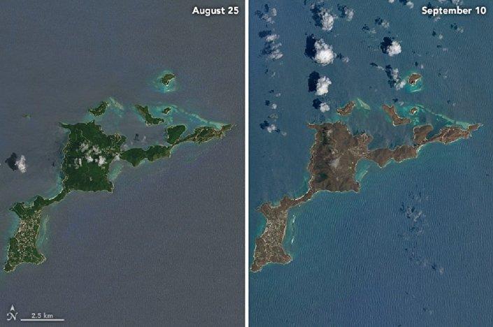 Comparação das imagens das Ilhas Virgens Britânicas e dos Estados Unidos antes de passagem do furacão Irma e depois