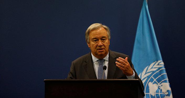 Secretário-geral da ONU, António Guterres, participa de uma coletiva em Ramallah, Cisjordânia