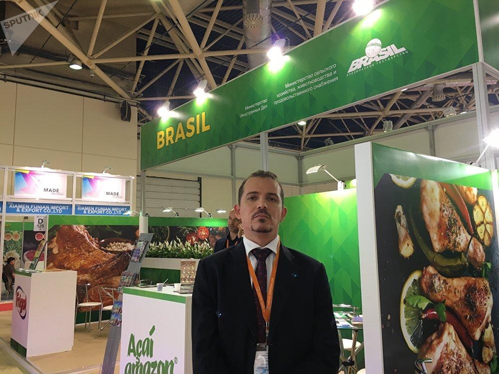 Chefe da delegação brasileira, Pedro Viana Borges, na exposição WorldFood Moscow, em 14 de setembro de 2017