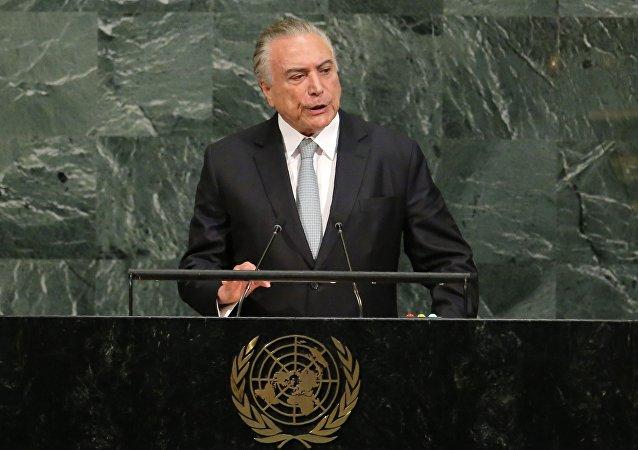 O presidente do Brasil, Michel Temer, durante a sua participação na Assembleia Geral da ONU em 19 de setembro de 2017