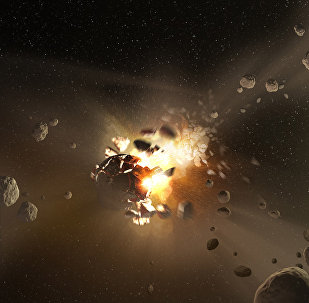 Representação artística da colisão do suposto planeta Nibiru com a Terra