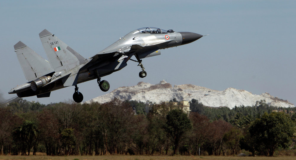 Indian air force Sukhoi Su-30 fighter aircraft takes off at the opening ceremony of Aero India 2011 in Yelahanka air base on the outskirts of Bangalore, India, Wednesday, Feb. 9, 2011