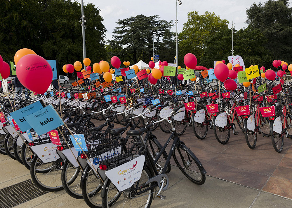 Bicicletas utilizadas na parada ciclística multicultural de Genebra