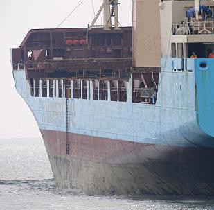 Um cargueiro da Maersk.