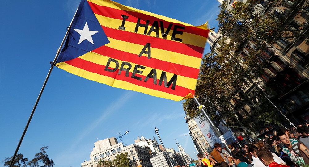 Manifestação em Barcelona após o referendo de independência da Catalunha