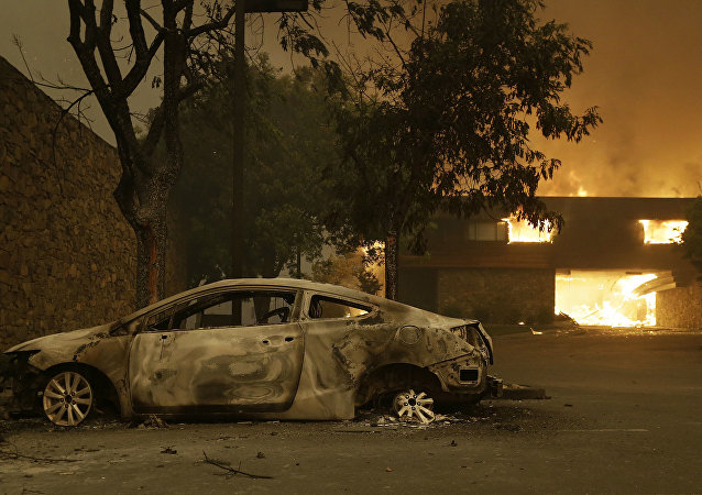 Carro carbonizado em decorrência de incêndio florestal em Santa Rosa, na Califórnia