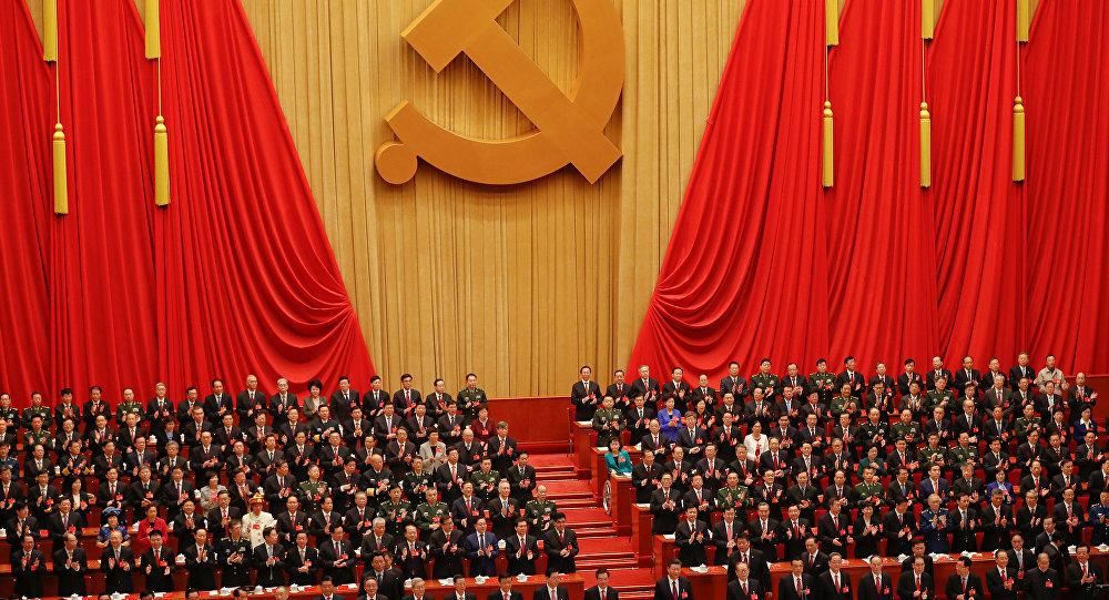 Xi Jinping e outros membros do Partido Comunista, no 19° Congresso Nacional do Partido Comunista, em Pequim