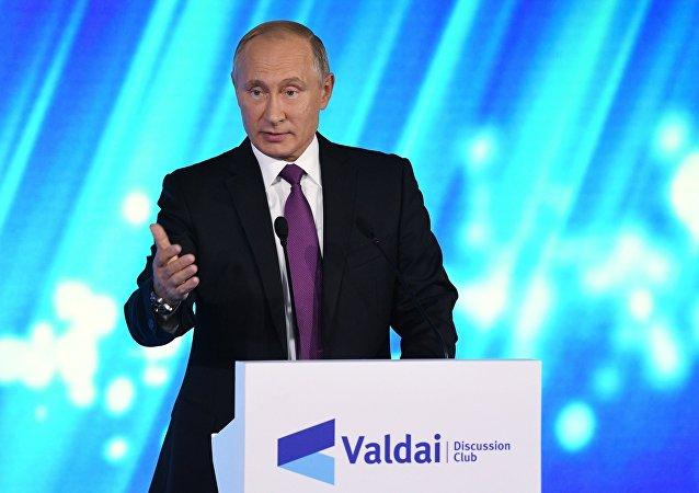 presidente russo, Vladimir Putin, participa do Clube Valdai